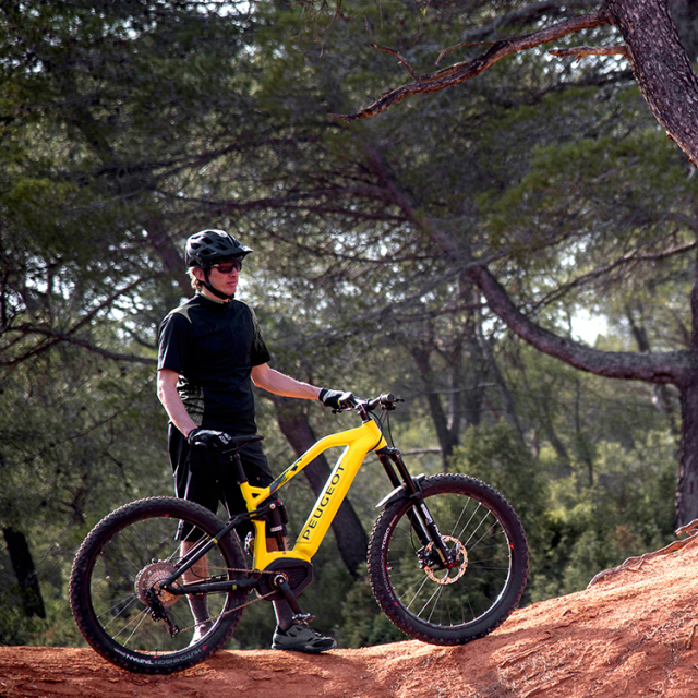 Biker holding his Peugeot integrated battery electric MTB on a mountainous path