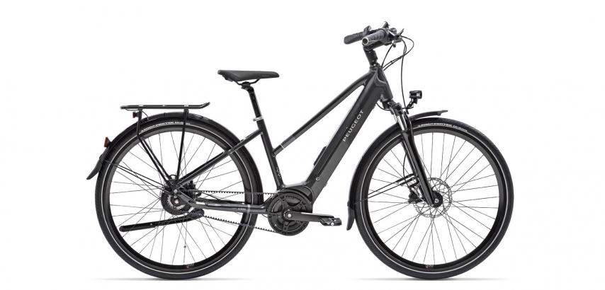 Picture of the Peugeot electric bike eT01 Belt Mixt Powertube with its integrated battery